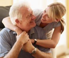 Seniors Hugging